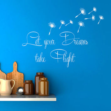 Dandelion Wall Decal Quote Let Your Dreams Take Flight Vinyl Stickers Home Flower Art Mural Bedroom Interior Design Living Room Decor KI36