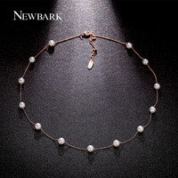 NEWBARK 13Pcs Imitation Pearl Necklaces & Pendants Two Tone Retro Necklace Rose Gold Color Bijoux Femme Gift For Friends