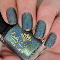 "Nail polish - ""On Edge"" Khaki linear holographic"