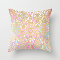Rosy Opalescent Art Deco Pattern Throw Pillow by Micklyn