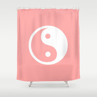 Coral Pink Harmony Yin Yang Shower Curtain by BeautifulHomes   Society6