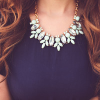 Iced Petal Crystal Necklace: Mint