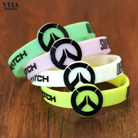 Game Overwatch Silicone Bracelet Tracer Reaper OW Game Bracelets For Women&Men Entertainment Logo overWatch Wristband Bangle