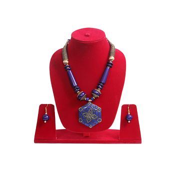 """Beach, Chunky, 15"""" Necklace Set with Blue Wood , Amber Seeded Beads With Hoop Earrings"""