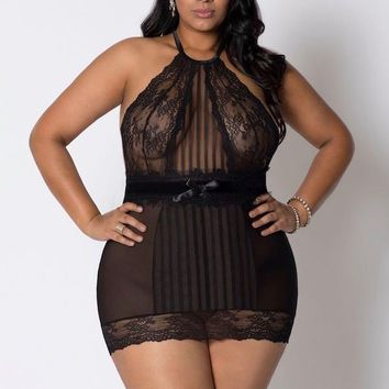 Halter Mesh and Lace Chemise Lingerie