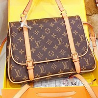 Inseva LV New fashion monogram print leather handbag backpack bag book bag Coffee
