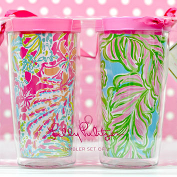 LILLY PULITZER: Insulated Tumbler Set with Lid - In the Bungalows/Spot Ya