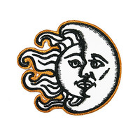 Sun & Moon Iron On Patch Embroidery Sewing DIY Customise Denim Cotton Hippy Hipster Celestial Day and Night