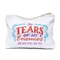 The Tears Of My Enemies and Also Some Hair Ties Cotton Canvas Zipper Pouch | Bag | Clutch | Cosmetic Bag | Lined, Gold Zipper