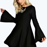 Bell Sleeve Fit and Flare Dress