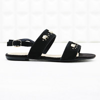 Deena & Ozzy Nelly Elephant Suede Sandals in Black - Urban Outfitters
