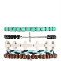 Set of 5 Bracelets with Peace Sign and Sideways Cross