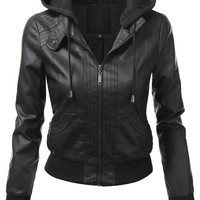 J.TOMSON Womens Faux Leather Bomber Jacket BLACK SMALL