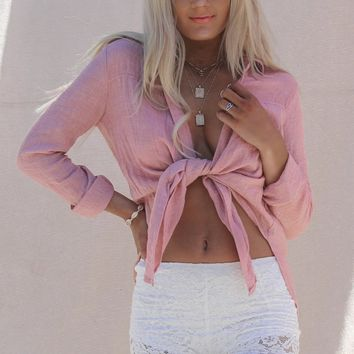Easy Days Mauve Front Tie Gauze Shirt