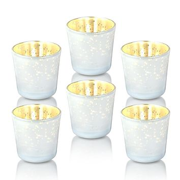 6 Pack | Vintage Mercury Glass Candle Holders (2.5-Inch, Lila Design, Liquid Motif, Pearl White) - For Use with Tea Lights - For Parties, Weddings and Homes