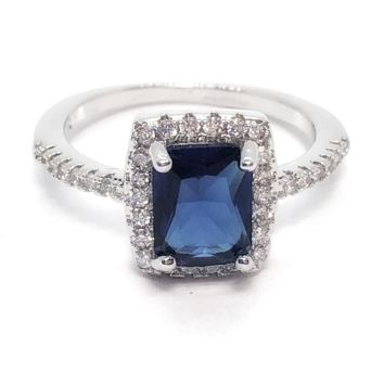 18K White Gold Bella Notte Radiant Emerald Cut 1.75Ct Sapphire Zirconia Halo Ring For Woman
