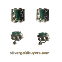 Sterling Silver Screw-back Earrings with a Green Turquoise Indian Art