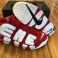 Nike Air More Uptempo Red White Basketball Shoes 36 47