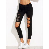 Black Distressing Ripped Knees Jeans