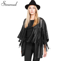 New womens long PU leather jackets and coats 2015 fashion fringe black hollow out jaqueta de couro feminina slim cardigans women