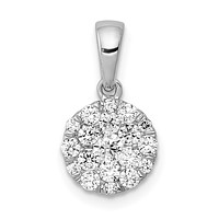 14k White Gold 1/2ct. Real Diamond Circle Cluster Pendant