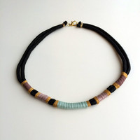 Pastel thread wrapped rope necklace / light blue lavender purple gold, recycled color block collar statement necklace, black paracord choker