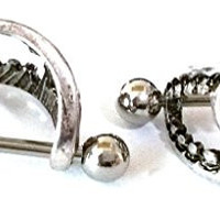 Nipple Shield Rings barbell barbells sold as a pair 14 gauge Love Bite Fang CH36