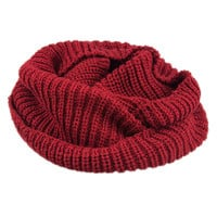 Burgundy Knitted Funnel Snood