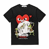 Men's CDG PLAY COMME DES GARCONS Play DSM limited edition Fashion Black Re-tartan Re-energy Holiday Black T-Shirt