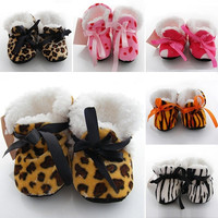 Leopard Zebra Toddler Kids Fleece Fur Boots Baby Shoes Winter Laced Ankle Socks (Size: 6-12m, Color: Multicolor) = 1932847940