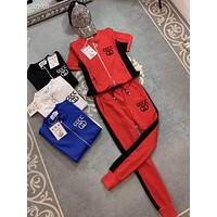 """""""Gucci"""" Woman Leisure Fashion Letter Printing Spell Color Zipper Short Sleeve Tops Trousers Two-Piece Set Casual Wear Sportswear"""