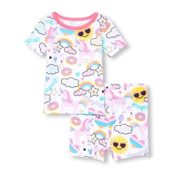 Baby And Toddler Girls Short Sleeve 'Magical' Unicorn Printed Top And Bottom PJ Set   The Children's Place