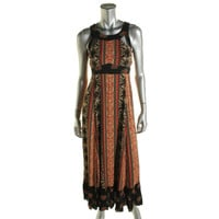 Free People Womens Lace-Up Halter Maxi Dress
