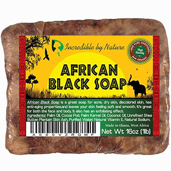 #1 Best Quality African Black Soap - 1lb (16oz) Raw Organic Soap for Acne, Eczema, Dry Skin, Psoriasis, Scar Removal, Face & Body Wash, Authentic Beauty Bar From Ghana West Africa Incredible By Nature