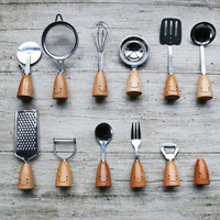 Handmade Stainless Steel&Natural Wood Fork Knife Pizza Cutter Whisk Peeler Bottle Opener Grater Toothpick-box Spoon Utensil Flatware Set(12 Pcs)