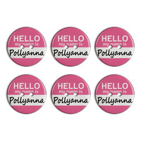 Pollyanna Hello My Name Is Plastic Resin Button Set of 6