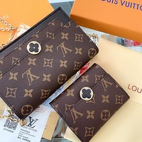 LV FLOWER classic presbyopic vintage shoulder messenger bag two-piece set