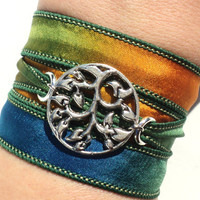 Bohemian Silk Wrap Bracelet Tree of Life Colorful Hippie Yoga Jewelry Necklace Gift For Her Christmas Stocking Stuffer Under 50 Item J40