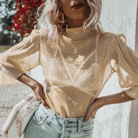 Summer Fashion Women Sexy Cool See-Through Princess Sleeve Mesh Lace T-Shirt Top Apricot