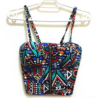 Bustier Crop Top 2017 Women Sexy Zipper Floral Vintage Padded Bustier Cropped Tops Spaghetti Strap Camisole Tank Top