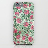 Retro French Floral Pattern iPhone & iPod Case by Paula Belle Flores