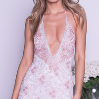 MANUELLA LACE DRESS IN WHITE WITH BLUSH
