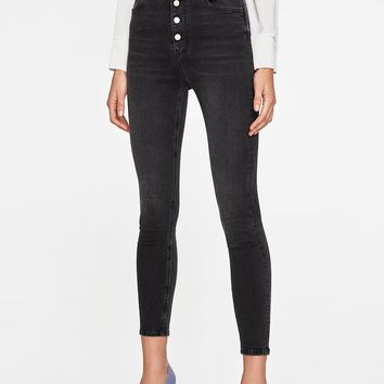 HIGH WAIST BUTTON FLY NICOLE GRAY JEANS DETAILS