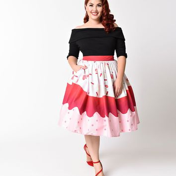 Unique Vintage Plus Size 1950s Red Velvet Cupcake High Waist Circle Swing Skirt