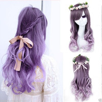Women's Ladies Long Curly Wavy Hair Full Wigs Anime Purple Ombre Hair Wig + cap