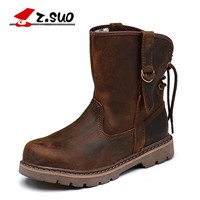 Z. Suo women 's boots, fashionable women's leather boots, cylinder in woman western leisure fashion winter boots. zs992