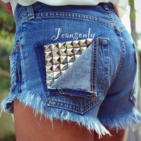 Studded shorts high waist studded jeans shorts high by Jeansonly