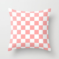 Coral Pink Checker Squares Throw Pillow by BeautifulHomes   Society6