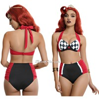 Licensed cool Disney Alice In Wonderland Queen Of Heart Swim Suit Swimsuit Bikini Top / Bottom