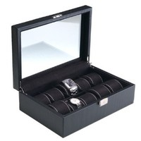 Deluxe Carbon Fiber Pattern Watch Box with Key Lock, Clear Glass Top and 10 Watch Holders